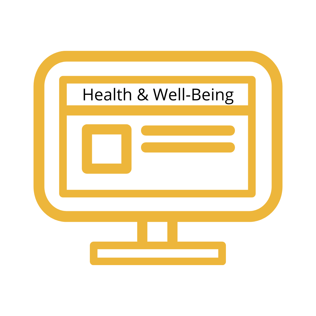 "Drawing of Computer with ""Health and Well-Being Newsletter"" inside screen"